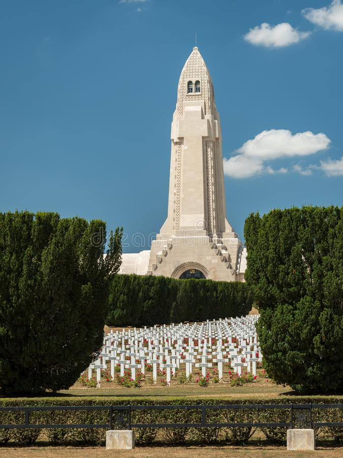 Cemetery outside of the Douaumont ossuary near Verdun France. Memorial of the soldiers who died on the battlefield during the Battle of Verdun in World War I stock photography