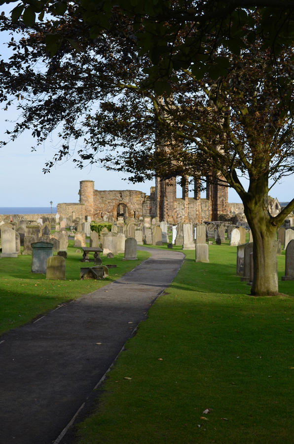 Cemetery and Remains of St Andrews Cathedral stock photo