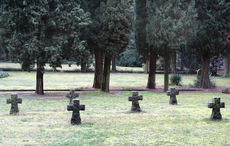 Cemetery with a row of old stone tombstones lined in the meadow. Gloomy, foggy, sad and quite atmosphere. Cemetery with a row of old stone tombstones lined in stock image