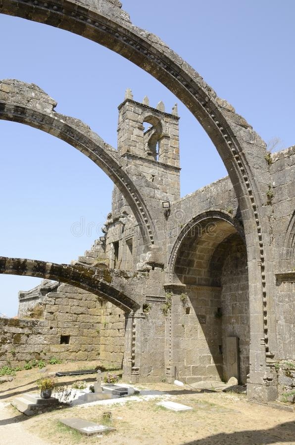 Cemetery and ruins of church. Cemetery in the old ruins of a church in Cambados, Galicia, Spain royalty free stock photography
