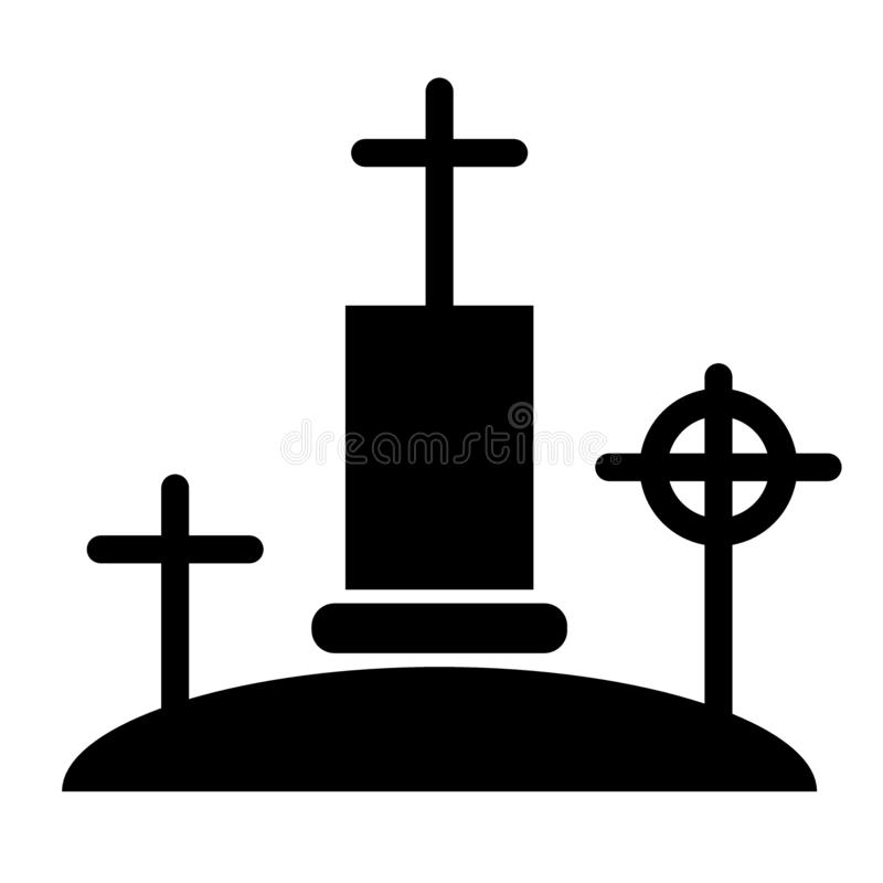 Cemetery solid icon. Graveyard web vector illustration isolated on white. Cross glyph style design, designed for web and. App. Eps 10 vector illustration
