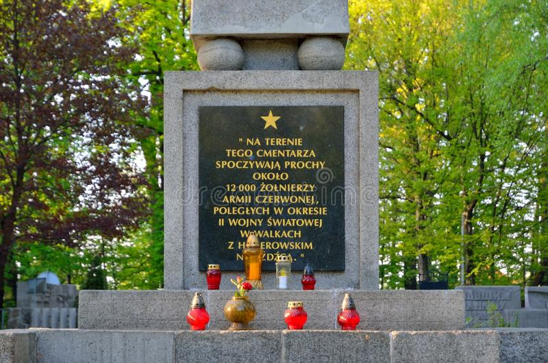 Cemetery of Soviet soldiers in Pszczyna, Poland. PSZCZYNA, POLAND - APRIL 22, 2018: Monument at the cemetery of Soviet soldiers in Pszczyna, Poland stock photos
