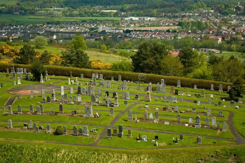 Cemetery graveyard in Stirling town in Scotland stock photos