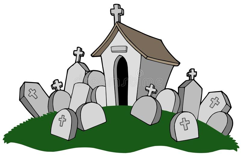 Cemetery with tomb. Vector illustration stock illustration