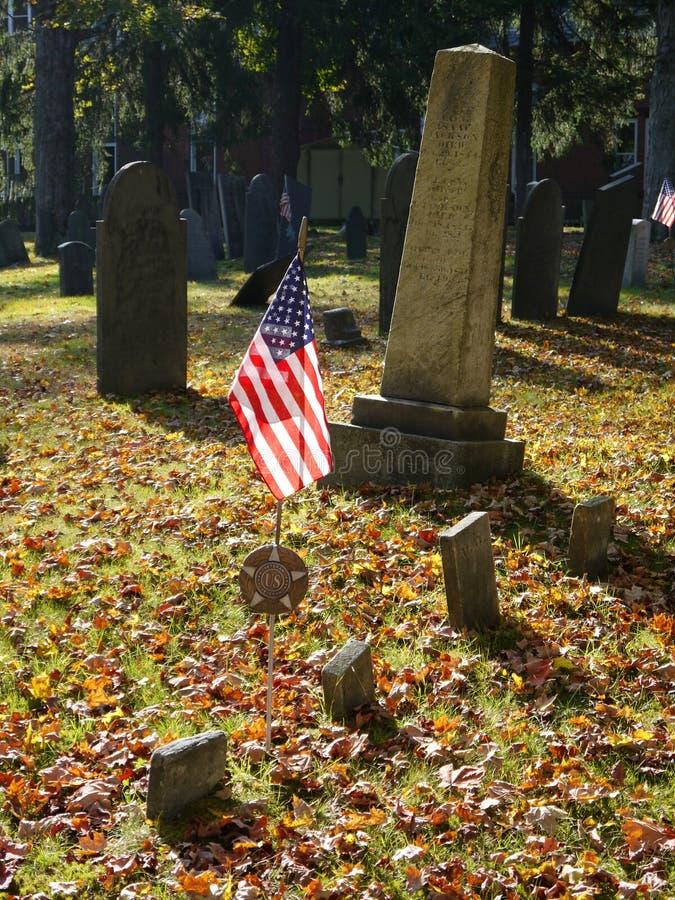 Cemetery: U.S. Flag On Veterans Grave Royalty Free Stock Photos