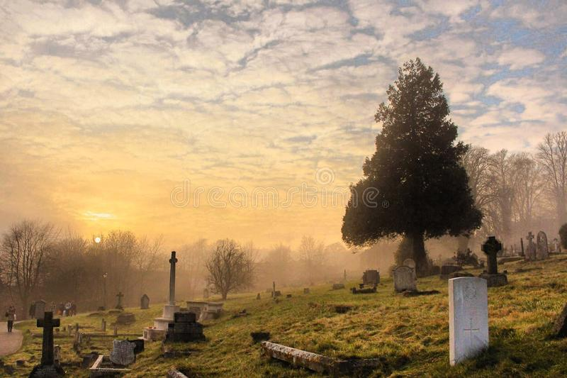Cemetery Under the Cloudy Sky royalty free stock image