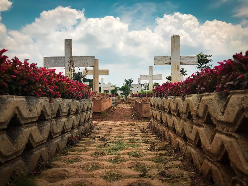 Cemetery view area with flower, white cross and blue sky with cloud royalty free stock images