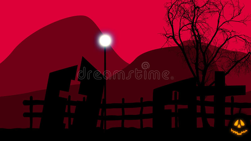 Cemetry with half ruined tombs on Halloween. 3D illustration of an old graveyard with three half ruined tombs with crosses, a sinister tree, and a street lantern stock illustration