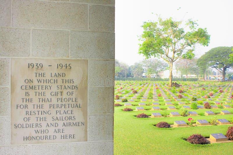 Cemitério 1939-1945 da guerra de Kanchanaburi imagem de stock