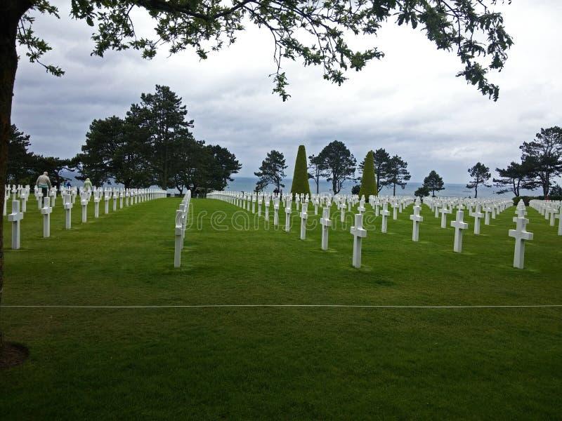 Cemitério americano, dia D, costa de Normandy fotografia de stock royalty free
