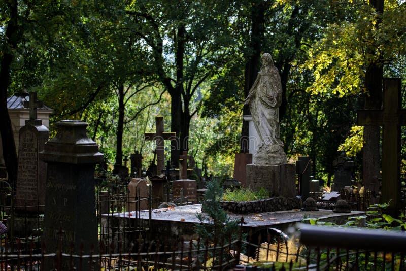 Cemitério antigo de Bernardine no distrito de Uzupis de Vilnius imagens de stock royalty free