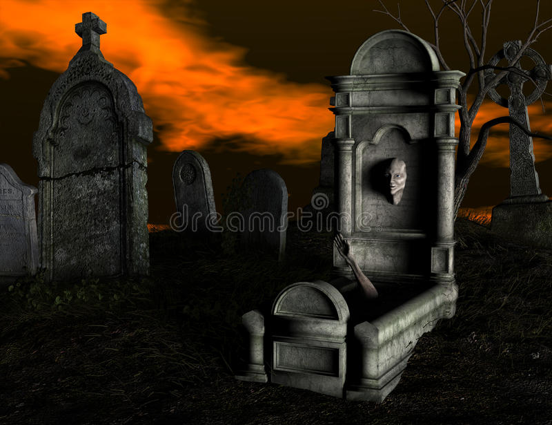 Cemitério assustador ilustração do vetor