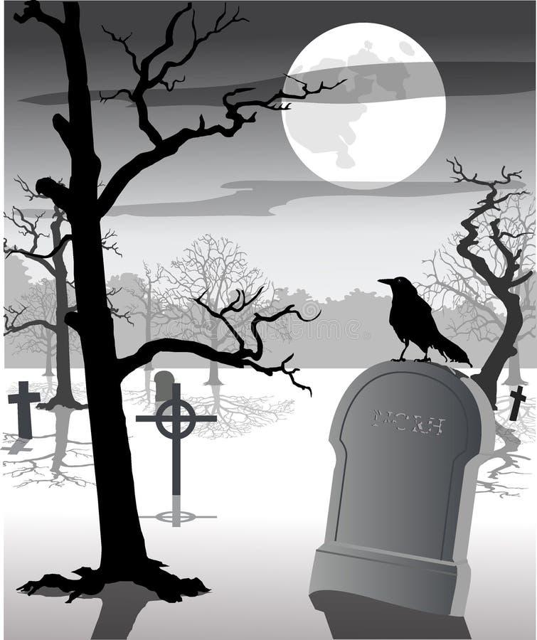 Cemitério assustador ilustração royalty free
