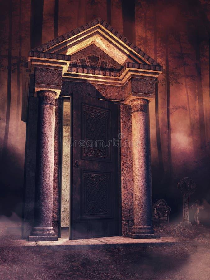 Cemitério assustador na noite ilustração royalty free