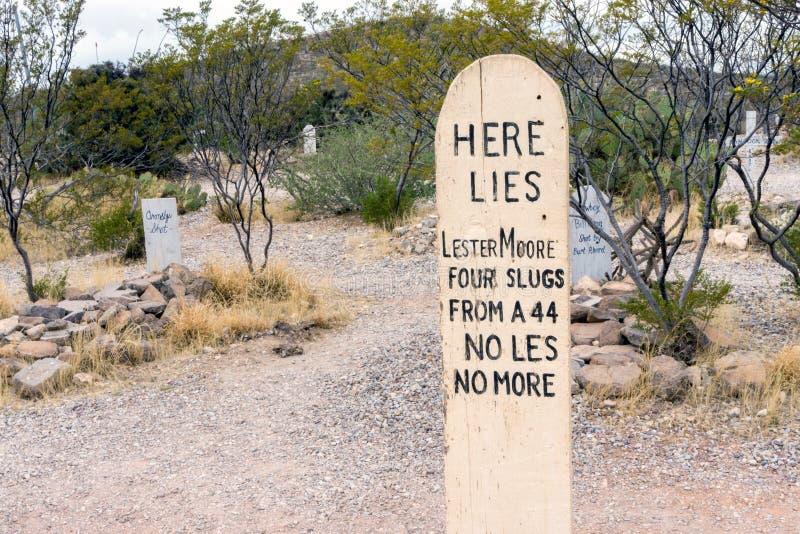 Cemitério de Boothill na lápide, o Arizona foto de stock royalty free