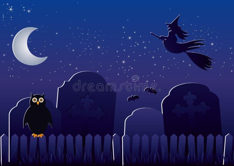 Cemitério de Halloween ilustração do vetor