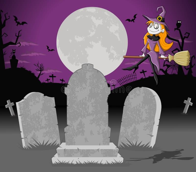 Cemitério de Halloween com túmulos e bruxa ilustração do vetor