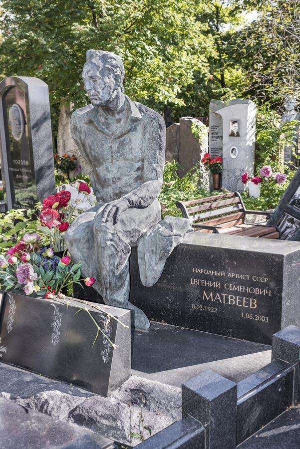 Cemitério de Novodevichy Ator grave Yevgeny Matveyev fotos de stock