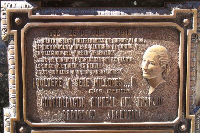 Cemitério de Recoleta: Sepultura de Eva Peron imagens de stock royalty free