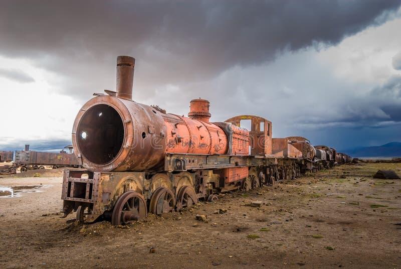 Cemitério do trem, Uyuni, Bolívia imagem de stock
