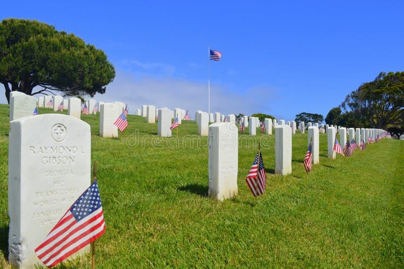 Cemitério dos veteranos de Rosecrans do forte em San Diego fotografia de stock