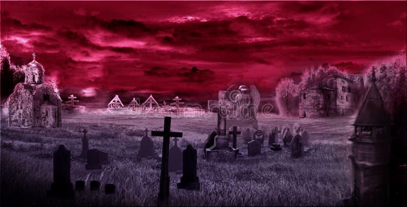 Cemitério escuro, digipak, arte, templo imagem de stock