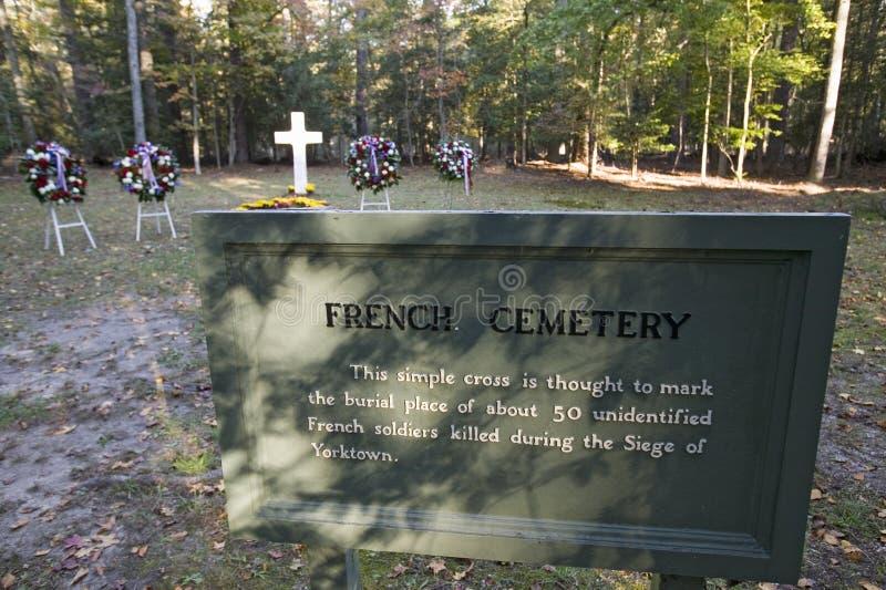 Cemitério francês onde 50 soldados franceses que perderam suas vidas no cerco de Yorktown, 1781, são enterrados, Histor nacional  fotografia de stock royalty free