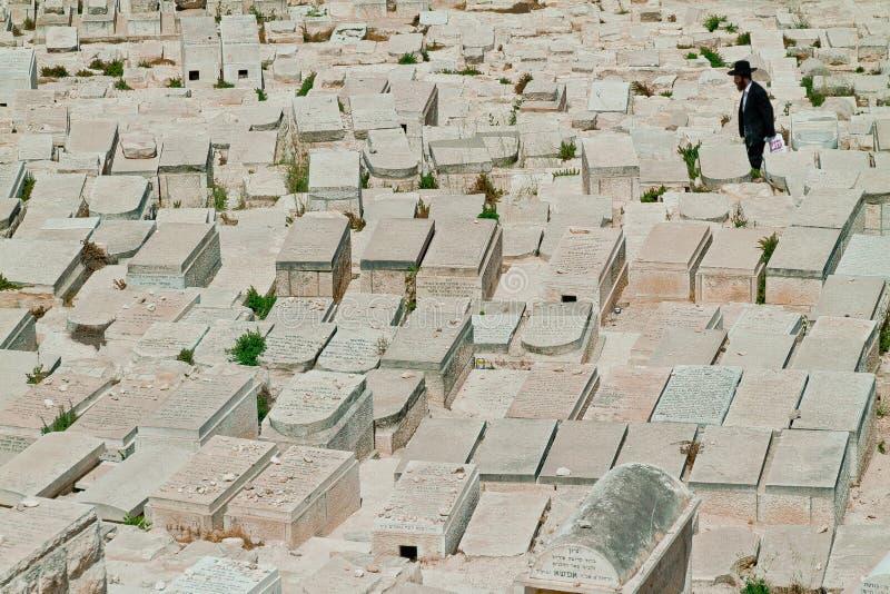 Cemitério judaico do Jerusalém no Monte das Oliveiras fotos de stock