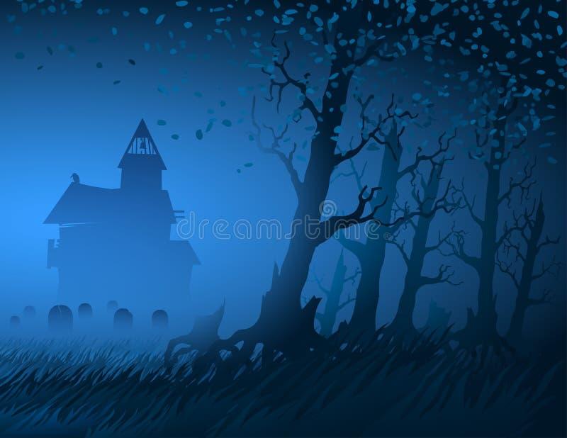 Cemitério místico Dia das Bruxas da cabana do fundo do coto da noite das árvores da luz de névoa ilustração do vetor