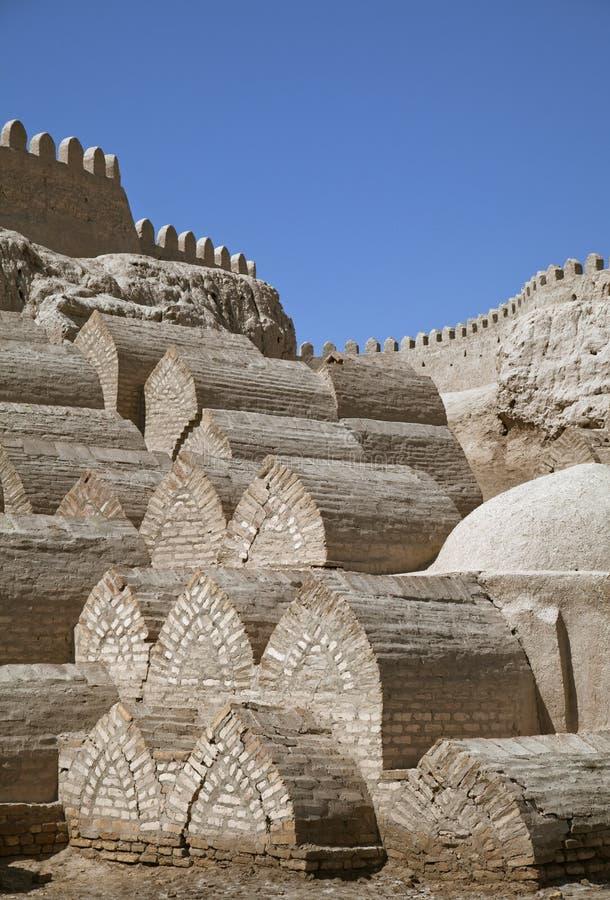 Cemitério medieval em Khiva imagem de stock