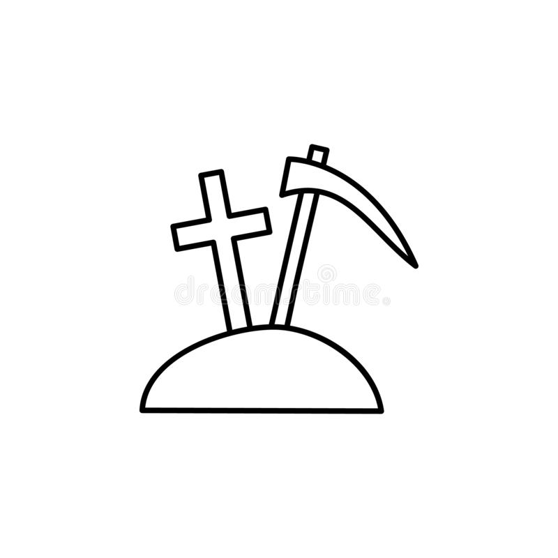 cemitério, morte, ícone do esboço da escavação grupo detalhado de ícones das ilustrações da morte Pode ser usado para a Web, logo ilustração royalty free