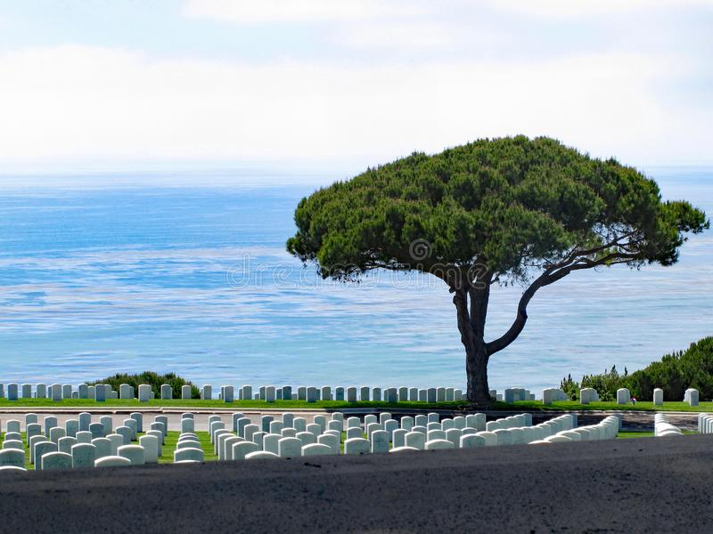 Cemitério nacional de Rosecrans do forte, San Diego, Califórnia foto de stock