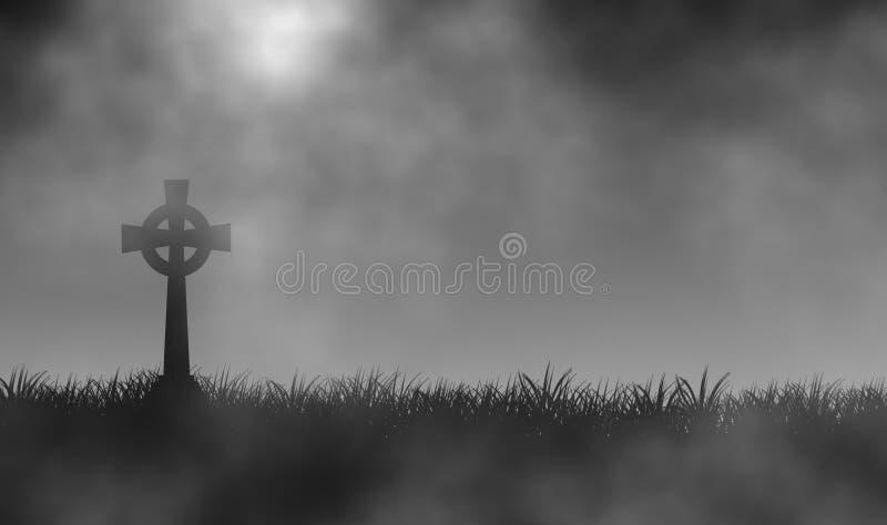 Cemitério no campo de grama no fundo nevoento do projeto da ilustração do dia ilustração royalty free