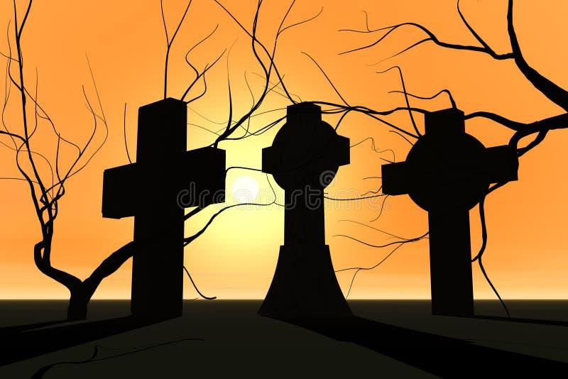Cemitério no por do sol ilustração stock