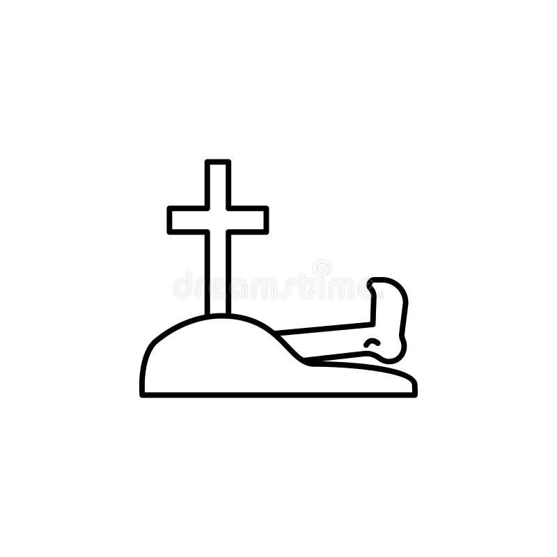 cemitério, pé, ícone do esboço da morte grupo detalhado de ícones das ilustrações da morte Pode ser usado para a Web, logotipo, a ilustração stock