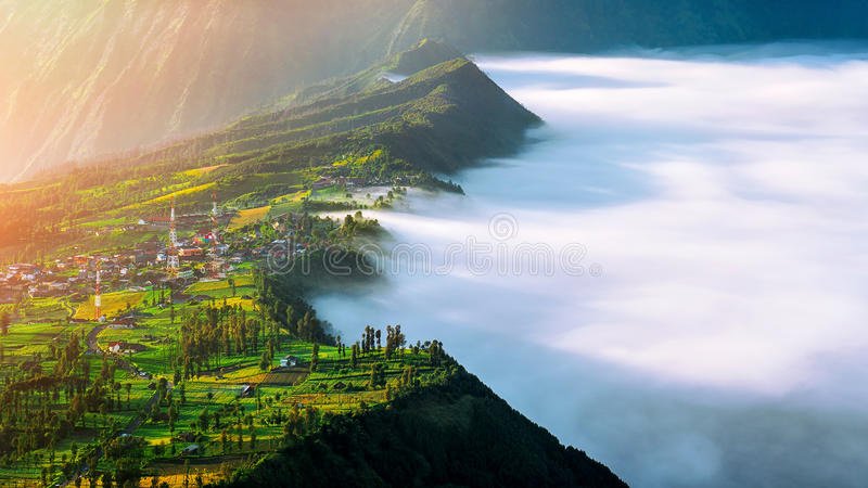 Cemoro lawang village at mount in Bromo tengger semeru national park, East Java. Cemoro lawang village at mount in Bromo tengger semeru national park, East Java royalty free stock photos