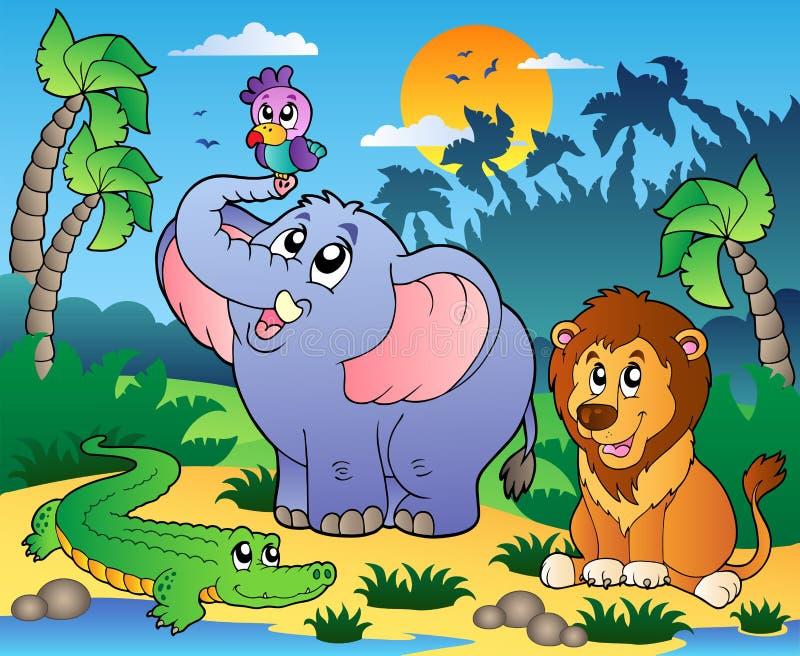 Cenário africano com animais 4 ilustração royalty free
