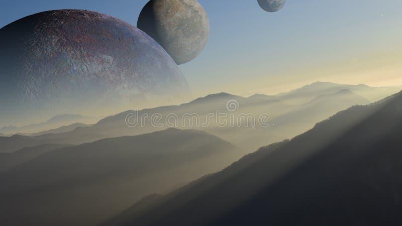 Cenário bonito em um mundo estrangeiro com as luas múltiplas no céu ilustração do vetor