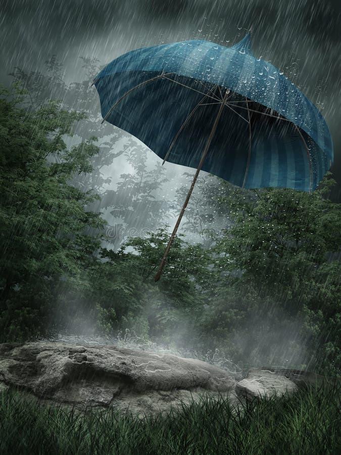 Cenário chuvoso com guarda-chuva ilustração stock