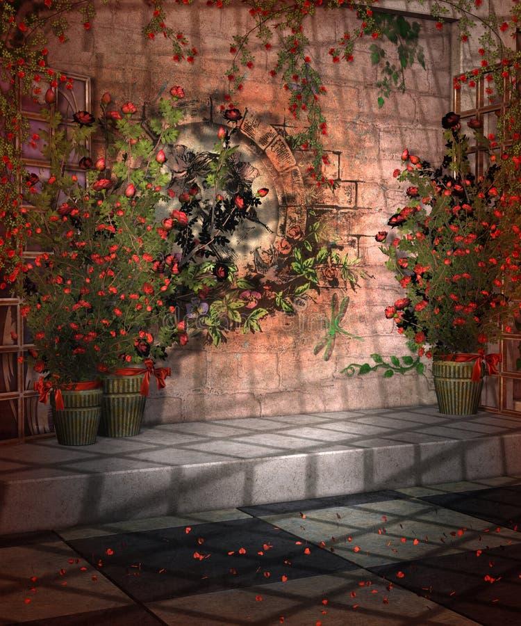 Cenário com rosas 1 ilustração stock