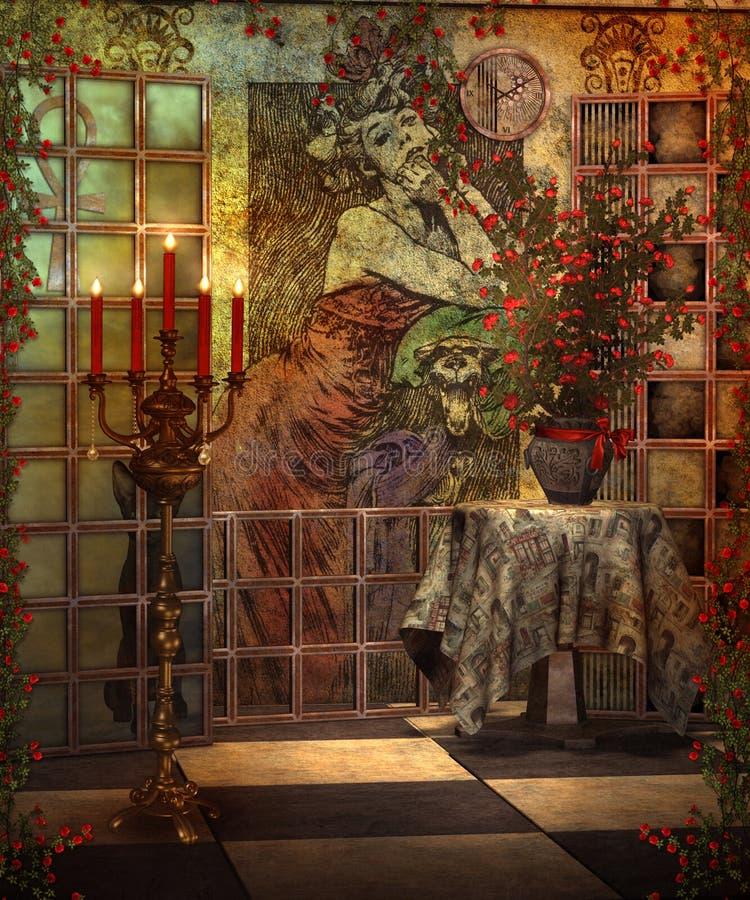 Cenário com rosas 2 ilustração royalty free