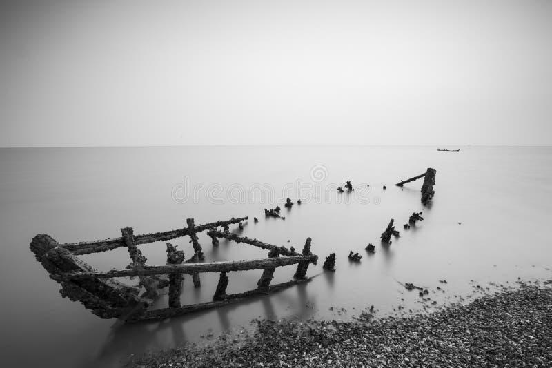 Cenário da baía do jiaozhou de Qingdao, névoa fotografia de stock royalty free