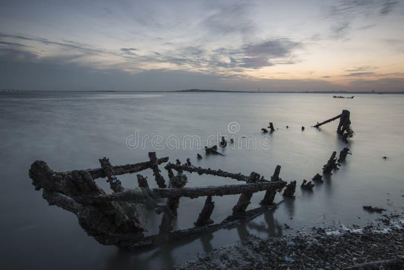 Cenário da baía do jiaozhou de Qingdao, névoa imagem de stock royalty free