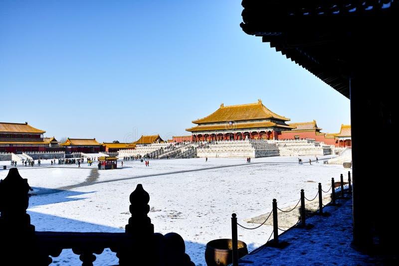 Cenário da Cidade Proibida no inverno imagens de stock royalty free