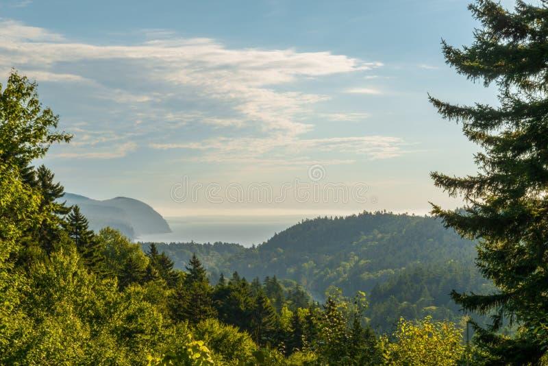 Cenário da costa de Fundy da vista bonita do olhar de Dickson Falls Trail fotografia de stock