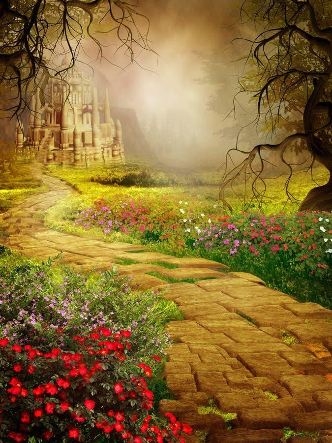 Cenário da fantasia com um castelo velho ilustração royalty free