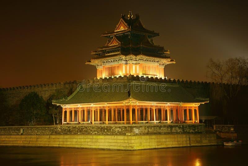 Cenário da noite da Cidade Proibida, beijing imagem de stock