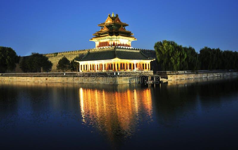 Cenário da noite da cidade proibida em beijing imagem de stock royalty free
