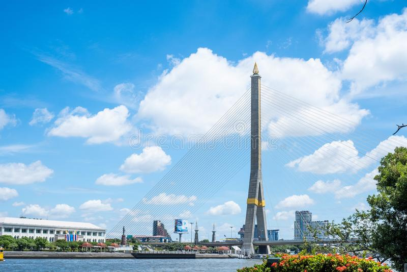 Cenário da ponte Rama 8 imagem de stock royalty free