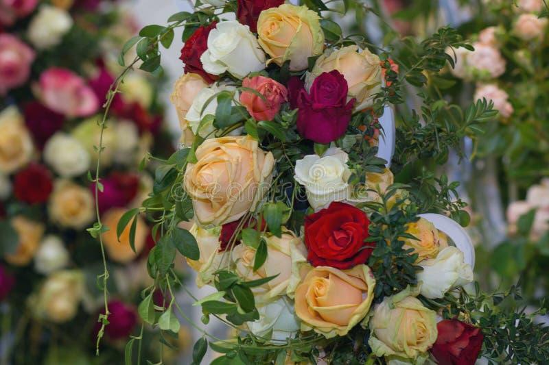 Cenário do casamento das rosas multi-coloridas bonitas imagens de stock royalty free